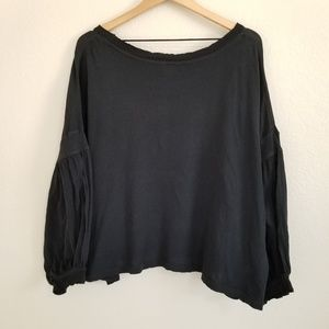Free People Black Oversized Balloon Sleeve Shirt L